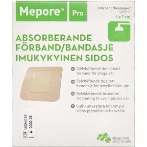 Køb Mepore Pro brusetæt selvklæbende forbinding 6x7cm 5 stk online hos apotekeren.dk