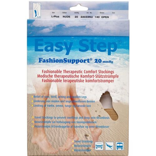 Køb Easy Step knæ åben tå nude L+ 1 par online hos apotekeren.dk