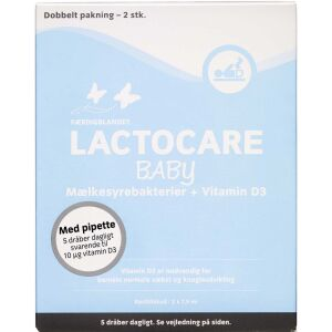 Køb Lactocare Baby 2-pak D-vitamin og mælkesyrebakterier 2x 7,5 ml online hos apotekeren.dk