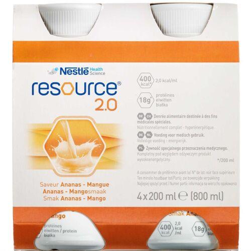 Køb Resource 2.0 Ananas-mango 4 x 200 ml online hos apotekeren.dk