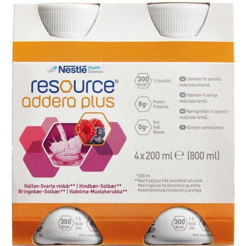 Køb Resource Addera Plus hindbær-solbær 4 x 200 ml online hos apotekeren.dk