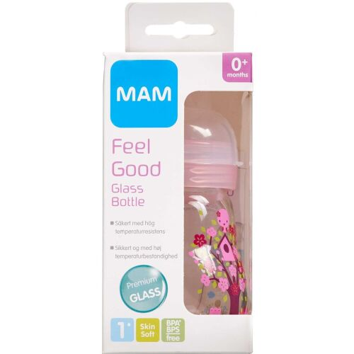 Køb MAM Feel Good Glassutteflaske assorterede farver 170 ml online hos apotekeren.dk