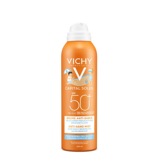 Køb Vichy Ideal Soleil Anti Sand børn mist SPF50+ 200 ml online hos apotekeren.dk