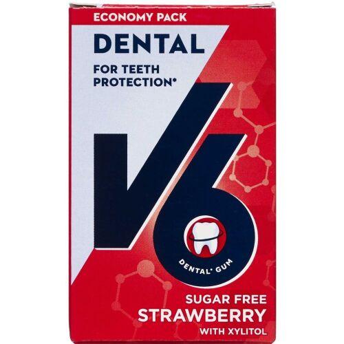 Køb V6 Dental tyggegummi jordbær/mint 70 g online hos apotekeren.dk