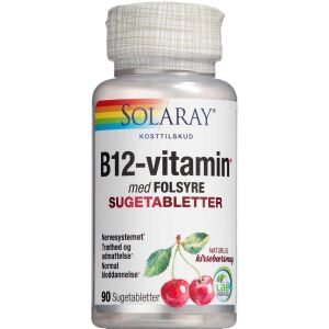 Køb Solaray B12-vitamin med folsyre sugetabletter 100 stk. online hos apotekeren.dk