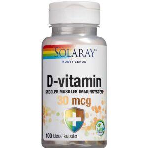 Køb Solaray D-vitamin 30 mikg kapsler 100 stk. online hos apotekeren.dk