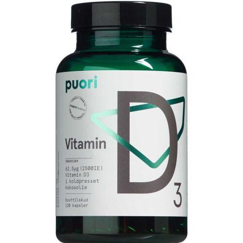 Køb Puori Vitamin D3 62,5 mikg kapsler 120 stk. online hos apotekeren.dk