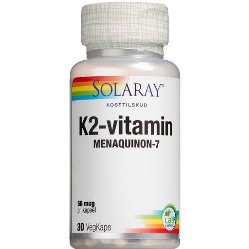 Køb Solaray K2- Vitamin 50 mcg kapsler 30 stk. online hos apotekeren.dk