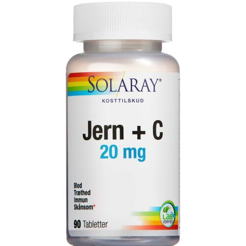 Køb Solaray Femi Jern + C tabletter 90 stk. online hos apotekeren.dk