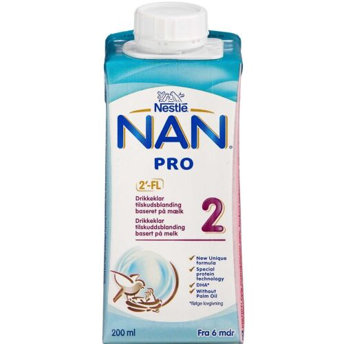 Køb NAN Pro 2 drikkeklar 200 ml online hos apotekeren.dk