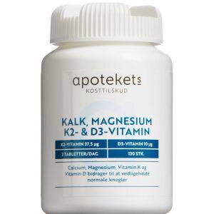 Køb Apotekets Kalk Mag K2+D Vitamin tabletter 130 stk. online hos apotekeren.dk