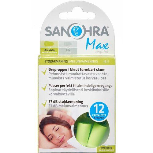 Køb SANOHRA Max Regular ørepropper 12 stk. online hos apotekeren.dk
