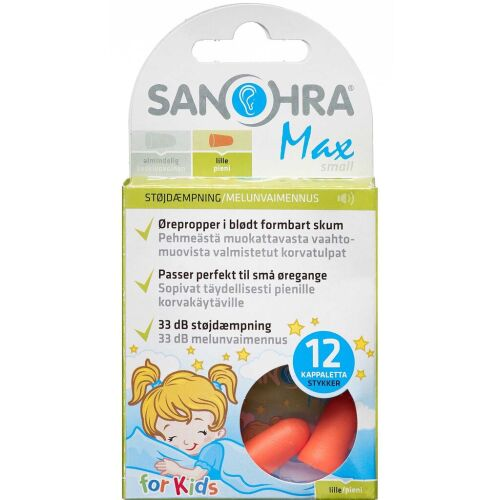 Køb SANOHRA Max Small ørepropper 12 stk. online hos apotekeren.dk