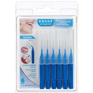 Køb Ekulf pH Supreme Blå 0,6 mm mellemrumsbørste 6 stk. online hos apotekeren.dk