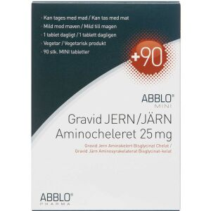 Køb ABBLO MINI Gravid Jern Aminocheleret 25 mg 90 stk. online hos apotekeren.dk