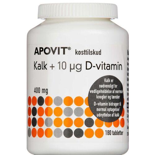 Køb Apovit kalk + 10 mikg D-vitamin 180 stk. online hos apotekeren.dk