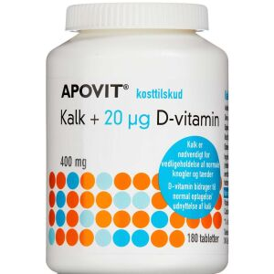 Køb Apovit kalk + 20 mikg D-vitamin 180 stk. online hos apotekeren.dk