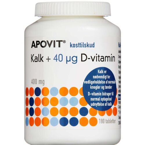 Køb Apovit kalk + 40 mikg D-vitamin 180 stk. online hos apotekeren.dk