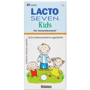 Køb Lacto Seven Kids Tyggetabletter m. Jordbær/Hindbærsmag 20 stk. online hos apotekeren.dk