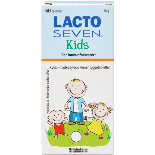 Køb Lacto Seven Kids tyggetabletter m. jordbær/himbærsmag 50 stk. online hos apotekeren.dk