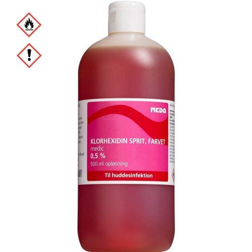 Køb Klorhexidin Medic 0,5% sprit, farvet 500 ml online hos apotekeren.dk