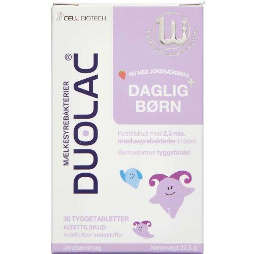 Køb Duolac Daglig+ Børn tyggetablet 30 stk.  online hos apotekeren.dk