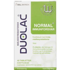 Køb Duolac Normal+ Immunforsvar mælkesyrebakterier tyggetabletter 40 stk. online hos apotekeren.dk