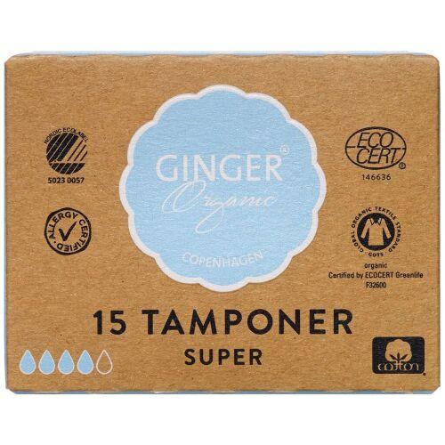 Køb GingerOrganic Tampon Super 15 stk. online hos apotekeren.dk