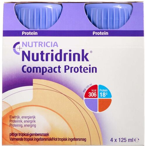 Køb Nutridrink Compact Protein hot tropisk ingefær 4 x 125 ml online hos apotekeren.dk