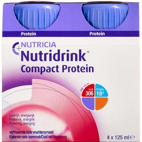 Køb Nutridrink Compact Protein Cool rød frugtsmag 4 x 125 ml online hos apotekeren.dk