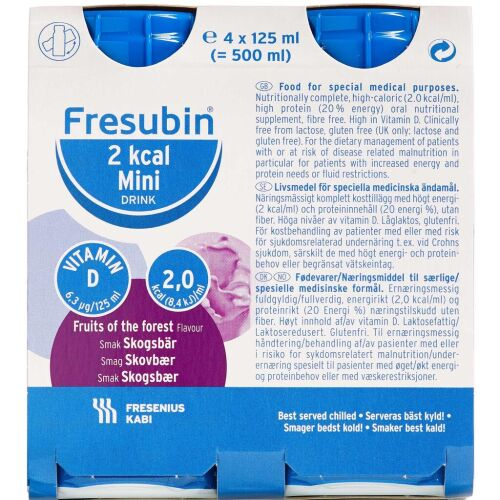 Køb Fresubin 2 kcal Drink Skovbær 4 x 125 ml online hos apotekeren.dk