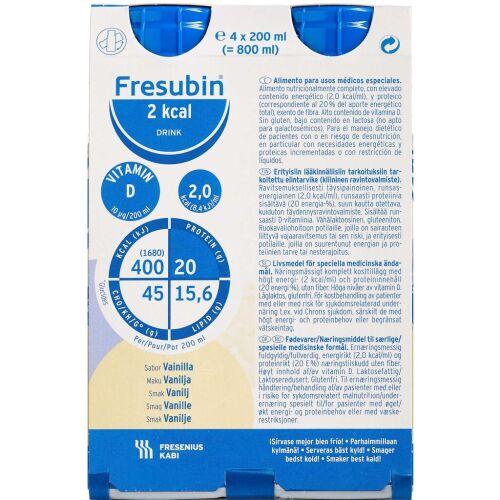 Køb Fresubin 2 kcal Drink Vanille 4 x 200 ml online hos apotekeren.dk