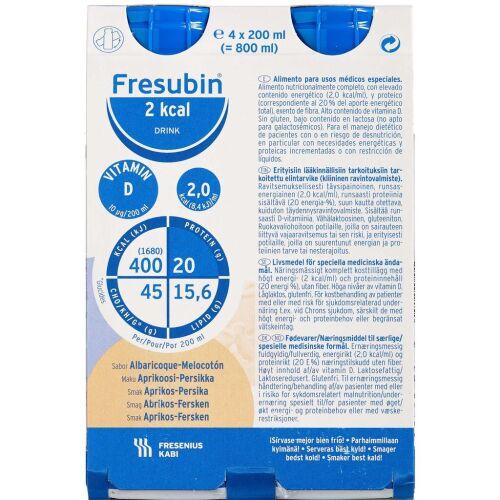 Køb Fresubin 2 kcal Drink Abrikos/Fersken 4 x 200 ml online hos apotekeren.dk