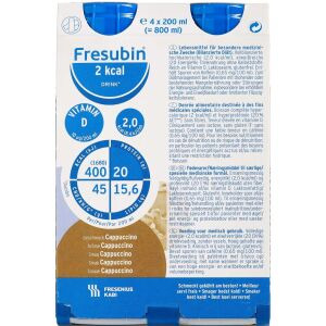 Køb Fresubin 2 kcal Drink Cappuccino 4 x 200 ml online hos apotekeren.dk