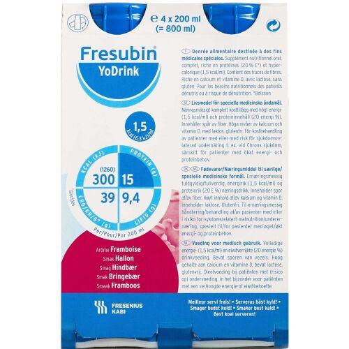 Køb Fresubin YoDrink Hindbær 4 x 200 ml online hos apotekeren.dk