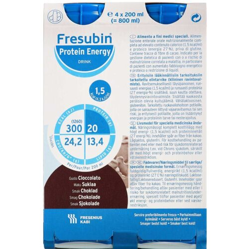 Køb Fresubin Protein Energy Drink Chokolade 4 x 200 ml online hos apotekeren.dk