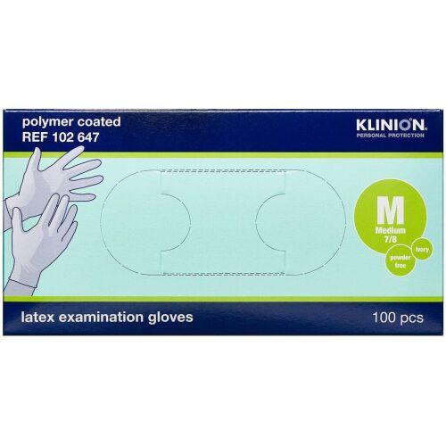 Køb Klinion Protection latexhandske pudderfri M 100 stk. online hos apotekeren.dk