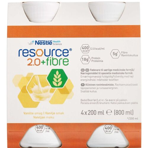 Køb Resource 2.0+ Fibre Vanilla 4x200 ml online hos apotekeren.dk