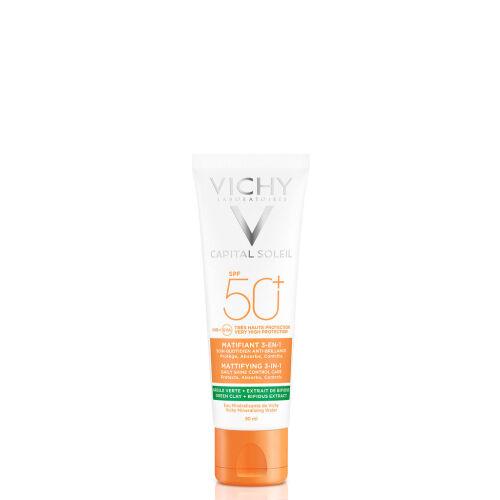 Køb Vichy Capital Soleil Mattifying 3-i-1 solcreme ansigt SPF50+ 50 ml online hos apotekeren.dk