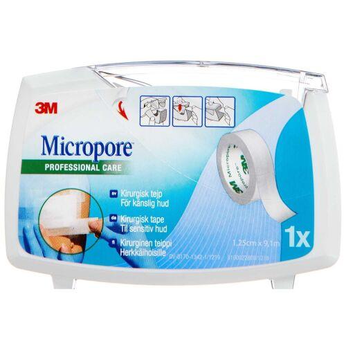 Køb Micropore på dispenser 1,25 cm x 9,14 m 1 stk. online hos apotekeren.dk