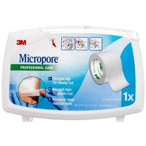 Køb Micropore på dispenser hvid 2,5 cm x 9,14 m 1 stk. online hos apotekeren.dk