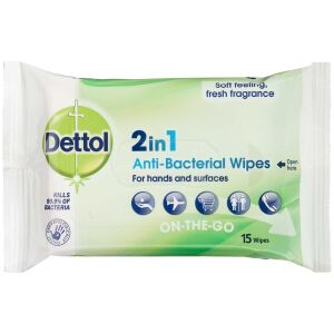 Køb Dettol 2i1 Antibacterial Wipes 15 stk. online hos apotekeren.dk