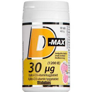 Køb D-Max 30 µg Jordbær-Hindbærsmag 90 stk. online hos apotekeren.dk
