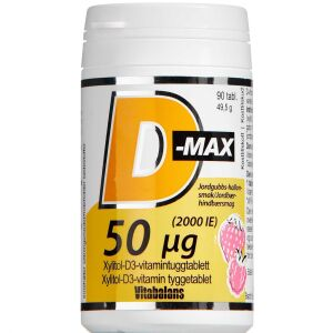 Køb D-Max 50 µg Jordbær-Hindbærsmag 90 stk. online hos apotekeren.dk