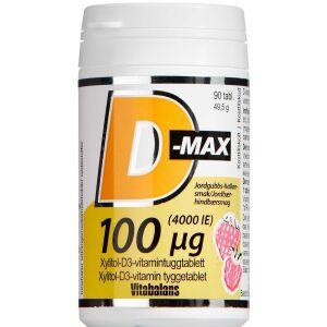 Køb D-Max 100 µg Jordbær-Hindbærsmag 90 stk. online hos apotekeren.dk
