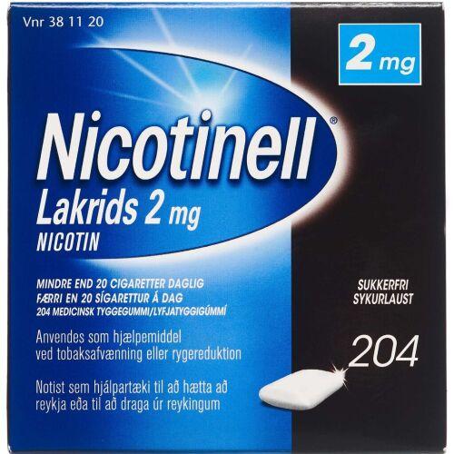 Køb NICOTINELL LAKRIDS TYGGEG 2MG online hos apotekeren.dk