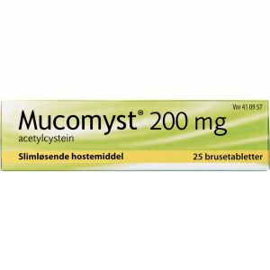 Køb MUCOMYST BRUSETABL 200 MG online hos apotekeren.dk