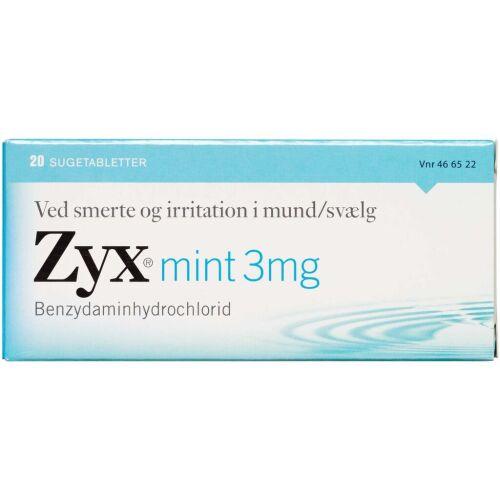 Køb ZYX SUGETABLET 3 MG MINT online hos apotekeren.dk