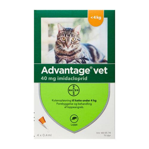 Køb Advantage Vet til katte 0-4 kg 4 x 0,4ml online hos apotekeren.dk