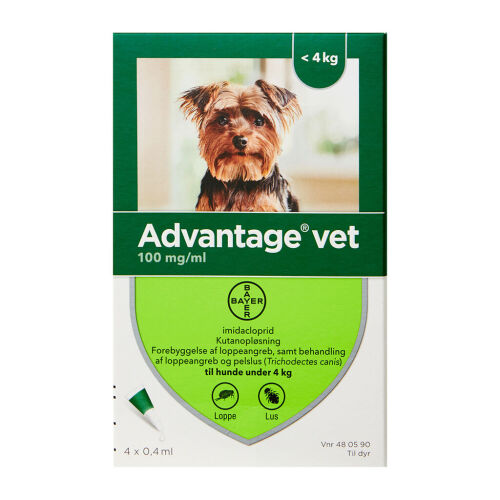 Køb Advantage Vet T/Hund 0-4 kg 4 x 0,4 ml online hos apotekeren.dk